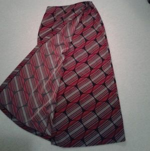 Studio C long wrap skirt red black white circles.